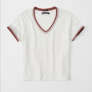 Short Sleeve Abercrombie & Fitch White Tee